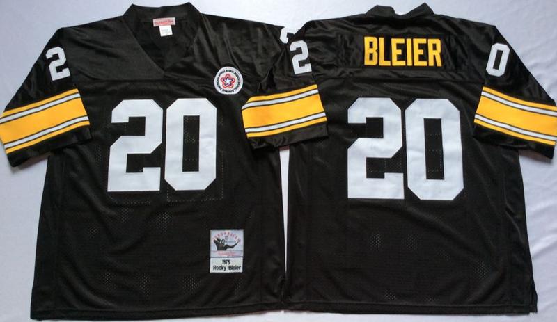 Steelers 20 Rocky Bleier Black M&N Throwback Jersey