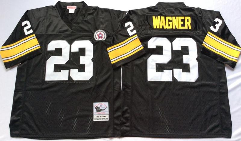 Steelers 23 Mike Wagner Black M&N Throwback Jersey