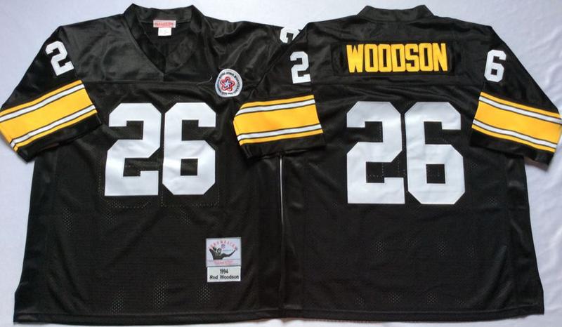 Steelers 26 Rod Woodson Black M&N Throwback Jersey