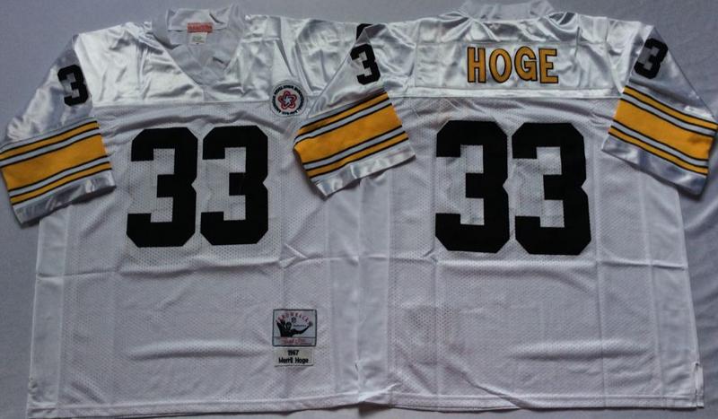 Steelers 33 Merril Hoge White M&N Throwback Jersey