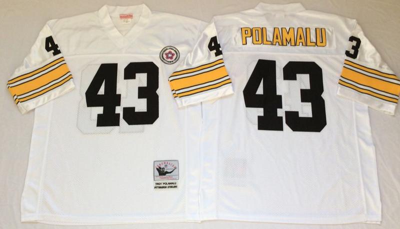Steelers 43 Troy Polamalu White M&N Throwback Jersey