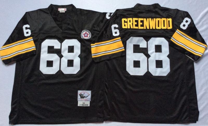 Steelers 68 L. C. Greenwood Black M&N Throwback Jersey