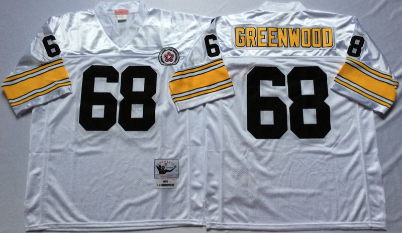 Steelers 68 L. C. Greenwood White M&N Throwback Jersey