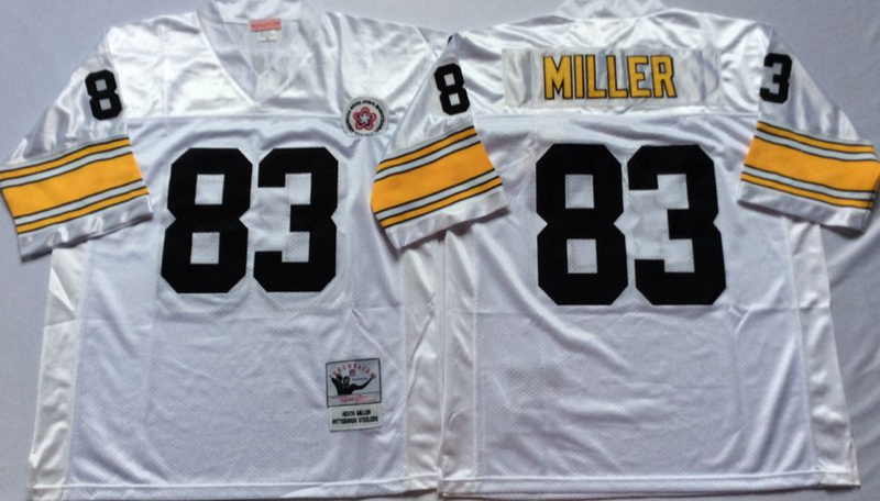 Steelers 83 Heath Miller White M&N Throwback Jersey