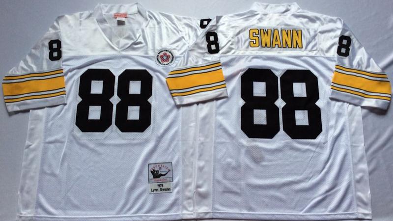 Steelers 88 Lynn Swann White M&N Throwback Jersey
