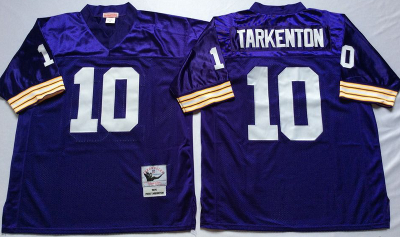 Vikings 10 Fran Tarkenton Purple M&N Throwback Jersey