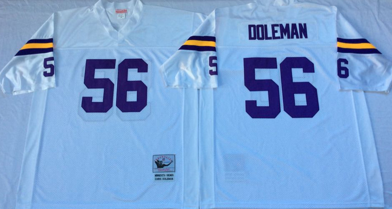 Vikings 56 Chris Doleman White M&N Throwback Jersey