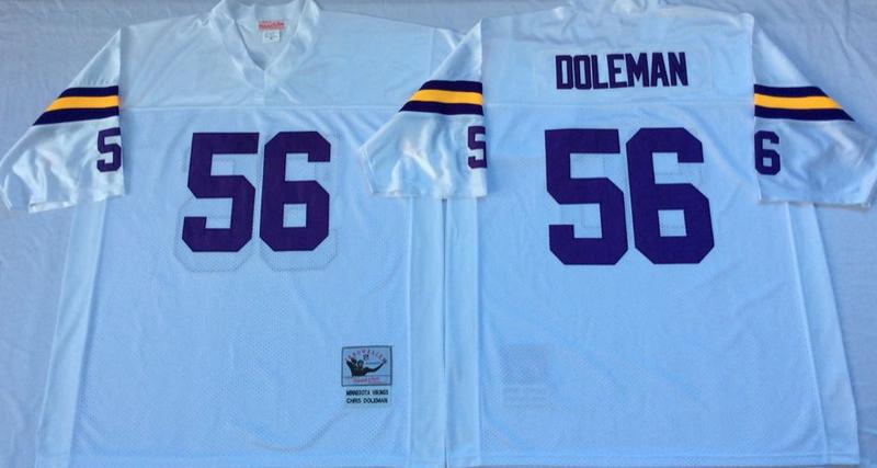 Vikings 56 Chris Doleman White M&N Throwback Jersey