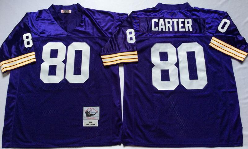 Vikings 80 Cris Carter Purple M&N Throwback Jersey