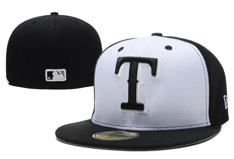 Texas Rangers Fresh Logo White Black Fitted Hat LX
