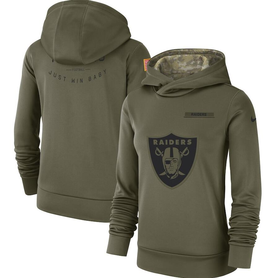 Oakland Raiders Nike Women's Salute to Service Team Logo Performance Pullover Hoodie Olive