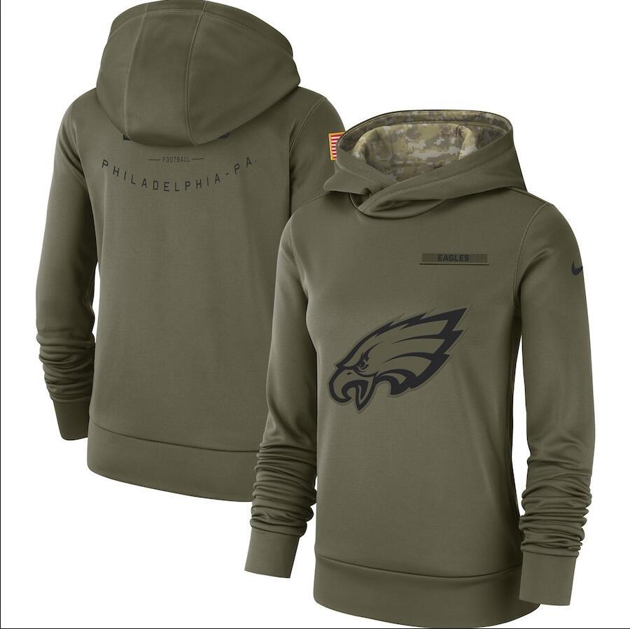 Philadelphia Eagles Nike Women's Salute to Service Team Logo Performance Pullover Hoodie Olive