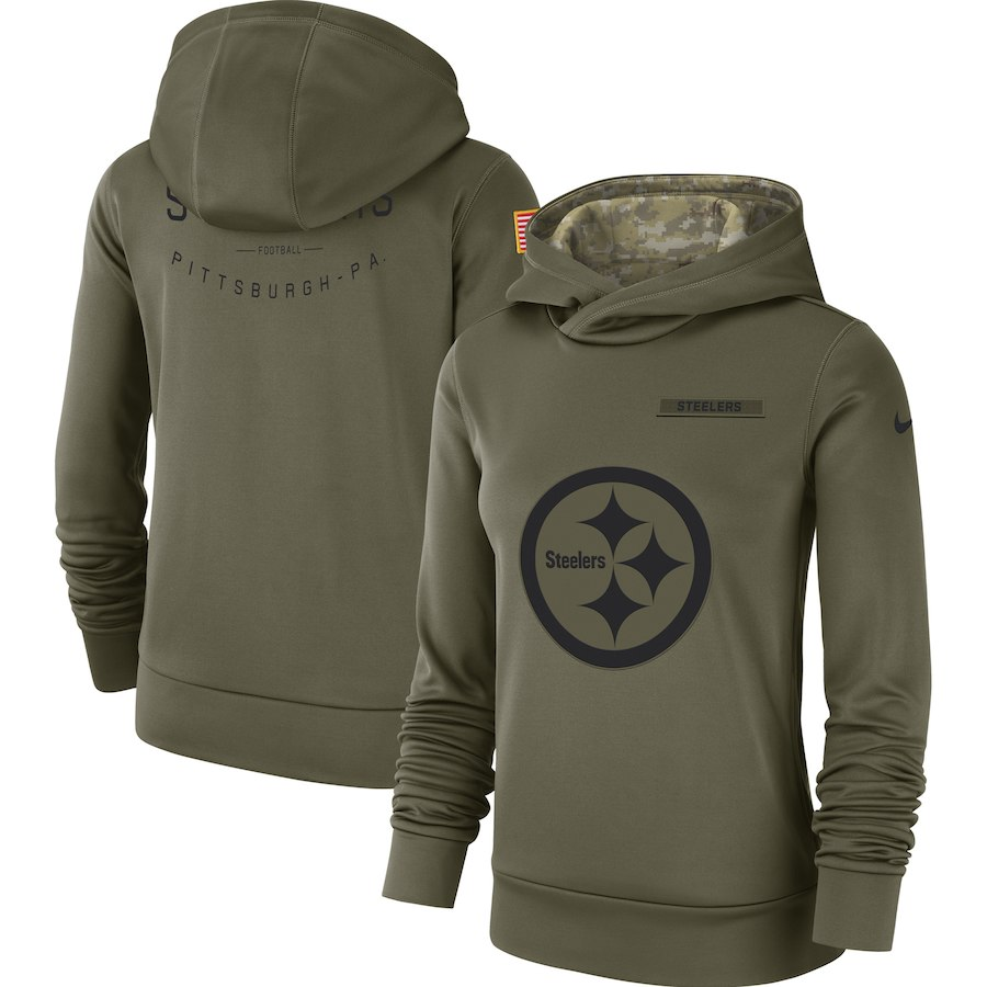 Pittsburgh Steelers Nike Women's Salute to Service Team Logo Performance Pullover Hoodie Olive