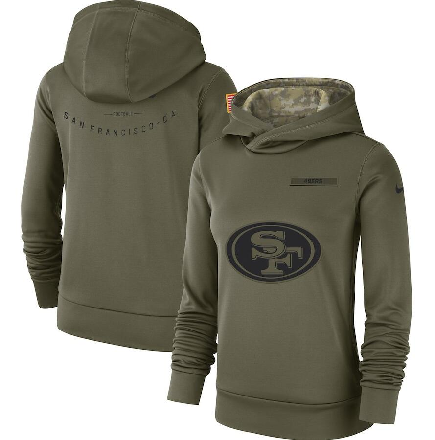 San Francisco 49ers Nike Women's Salute to Service Team Logo Performance Pullover Hoodie Olive