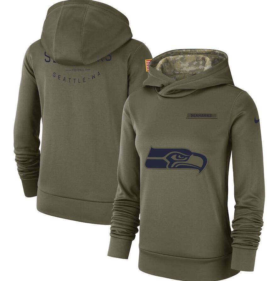 Seattle Seahawks Nike Women's Salute to Service Team Logo Performance Pullover Hoodie Olive