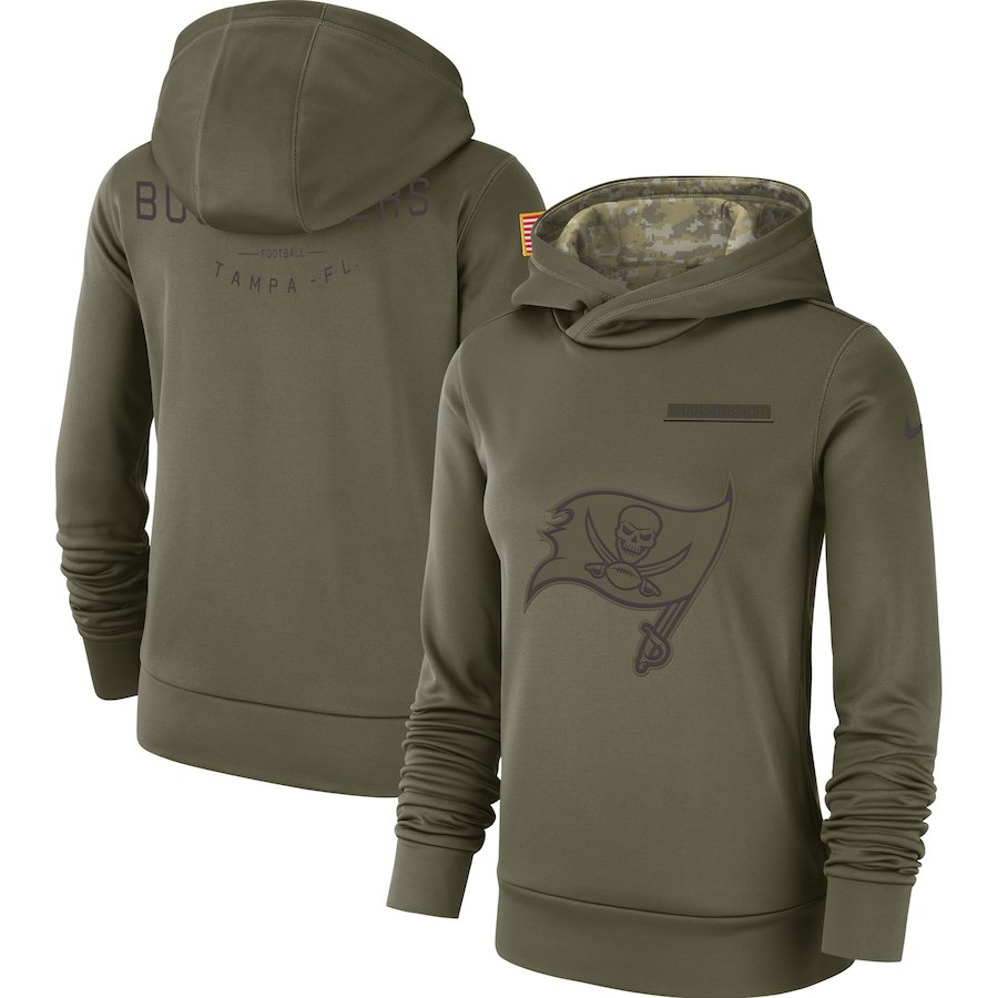 Tampa Bay Buccaneers Nike Women's Salute to Service Team Logo Performance Pullover Hoodie Olive