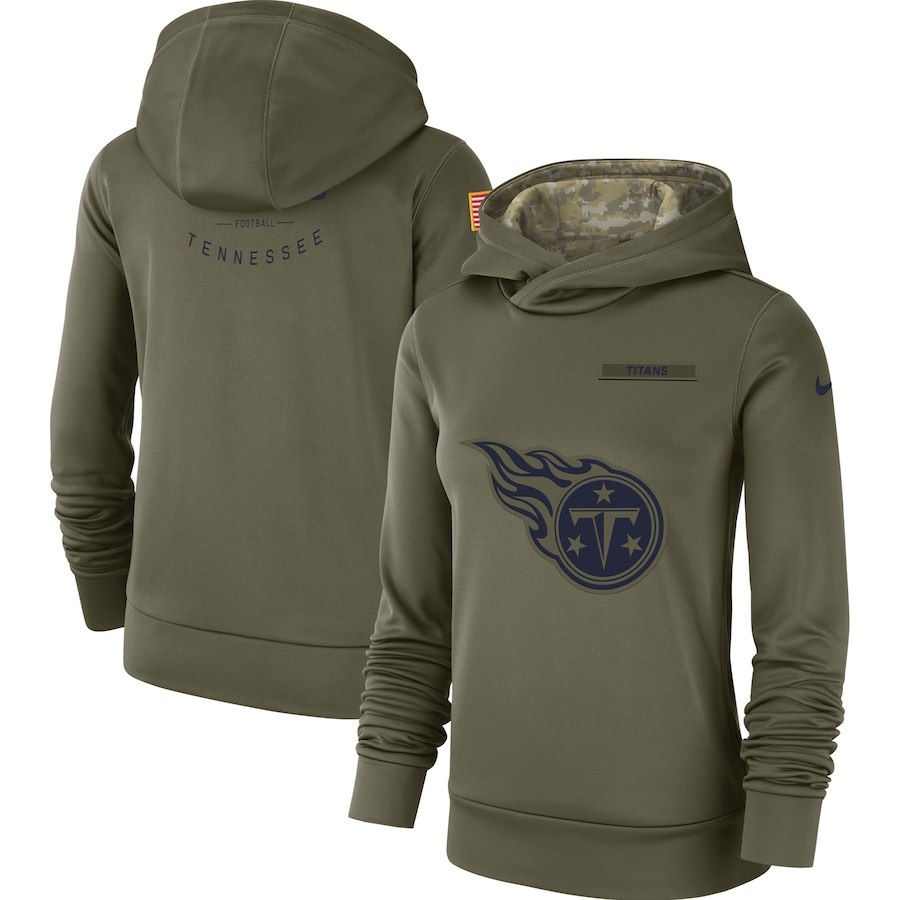 Tennessee Titans Nike Women's Salute to Service Team Logo Performance Pullover Hoodie Olive