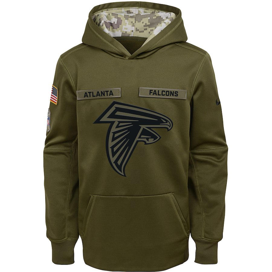 Atlanta Falcons Nike Youth Salute to Service Pullover Performance Hoodie Green