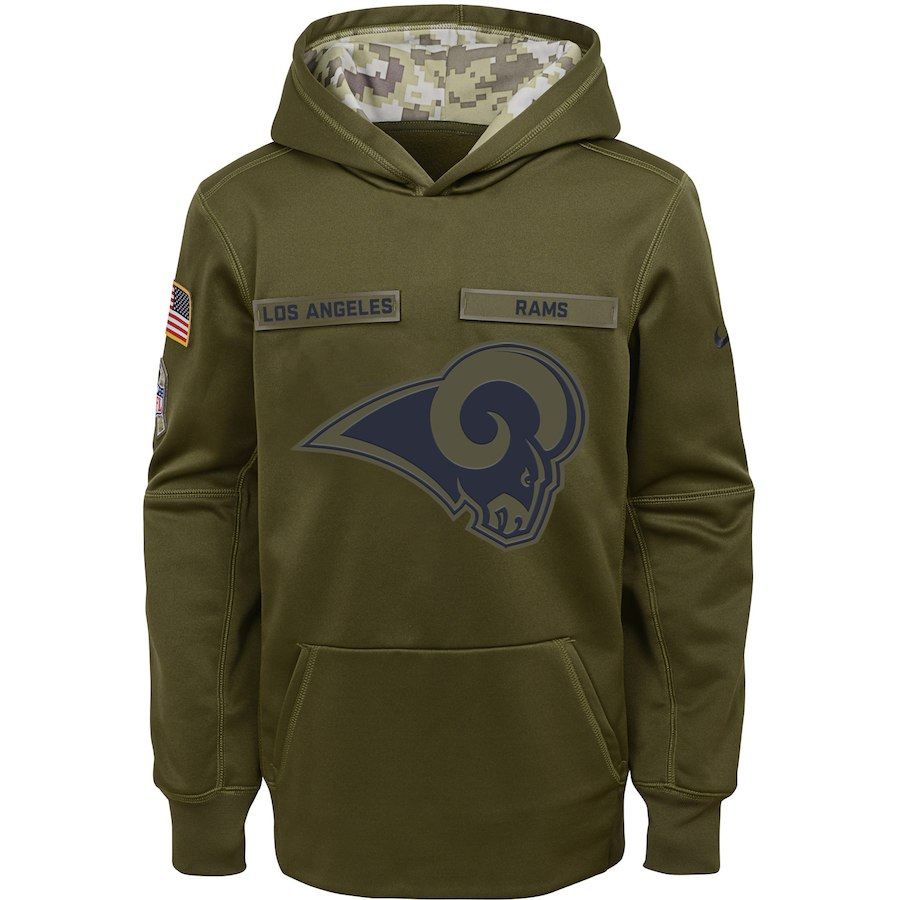 Los Angeles Rams Nike Youth Salute to Service Pullover Performance Hoodie Green