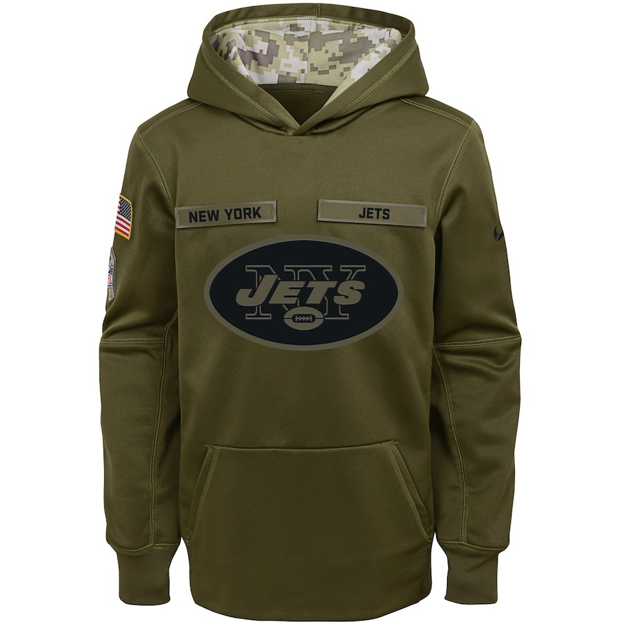 New York Jets Nike Youth Salute to Service Pullover Performance Hoodie Green
