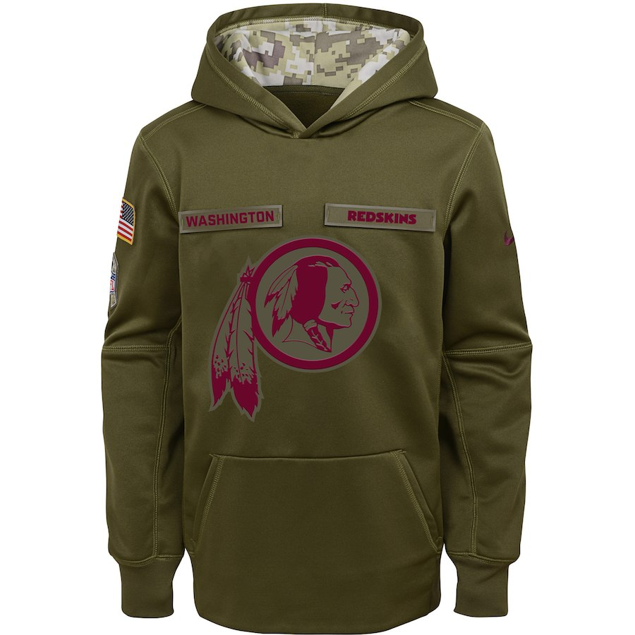 Washington Redskins Nike Youth Salute to Service Pullover Performance Hoodie Green