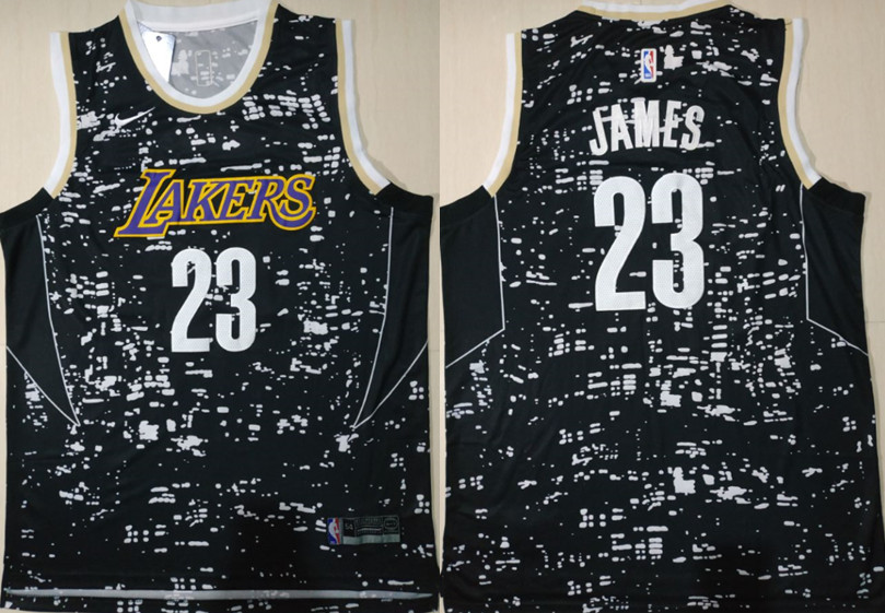 Lakers 23 Lebron James Black City Luminous Nike Swingman Jersey