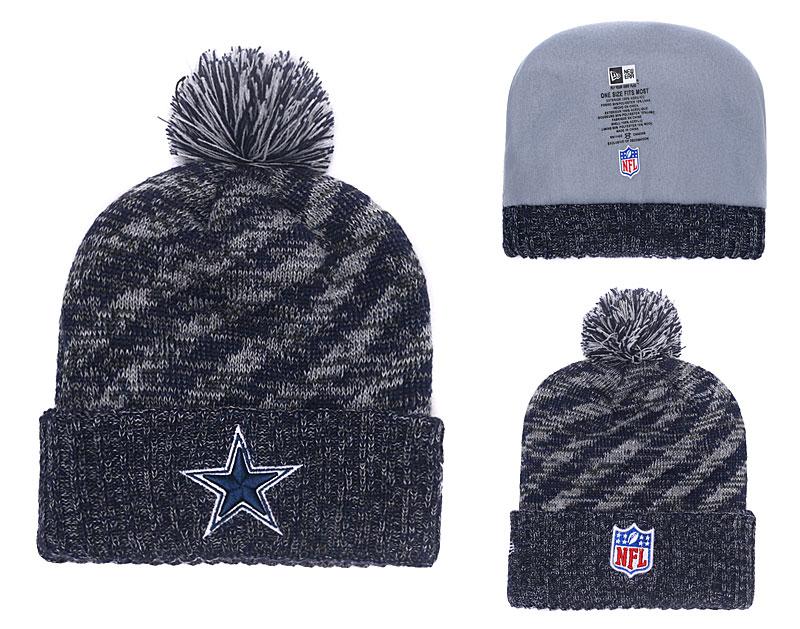 Cowboys Team Logo Navy Stripe Cuffed Pom Knit Hat YD