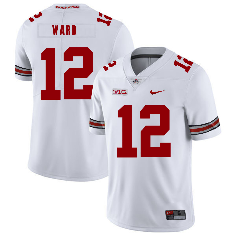 Ohio State Buckeyes 12 Denzel Ward White Nike College Football Jersey