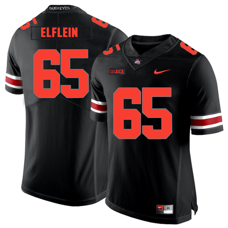 Ohio State Buckeyes 65 Pat Elflein Black Shadow Nike College Football Jersey