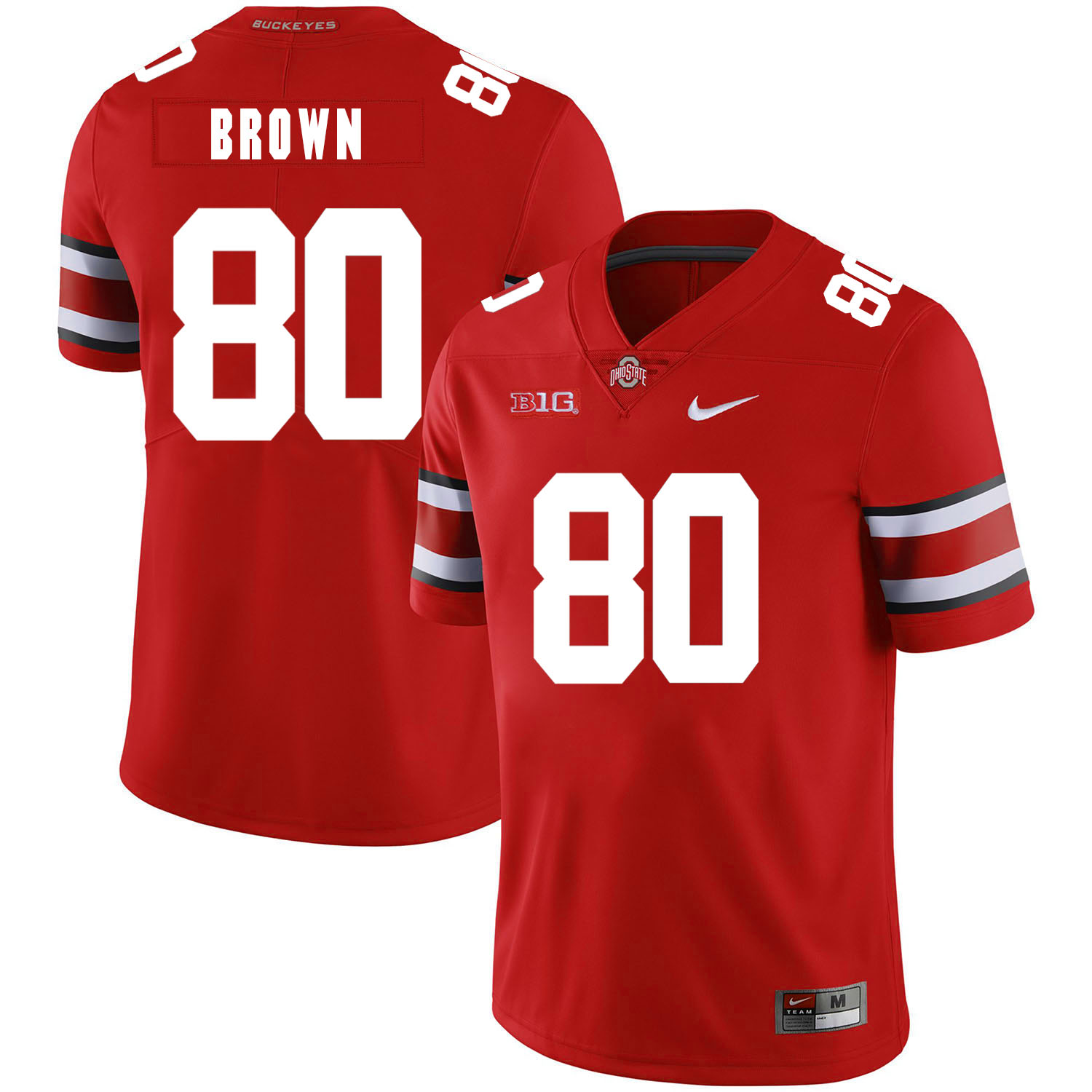 Ohio State Buckeyes 80 Noah Brown Red Nike College Football Jersey