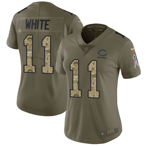 Nike Bears 11 Kevin White Olive Camo Women Salute To Service Limited Jersey