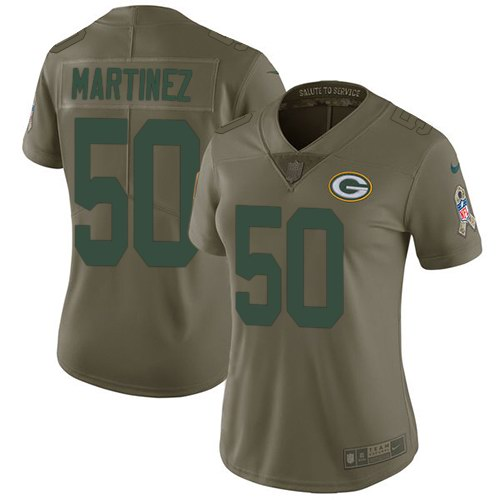 Nike Packers 50 Blake Martinez Olive Women Salute To Service Limited Jersey
