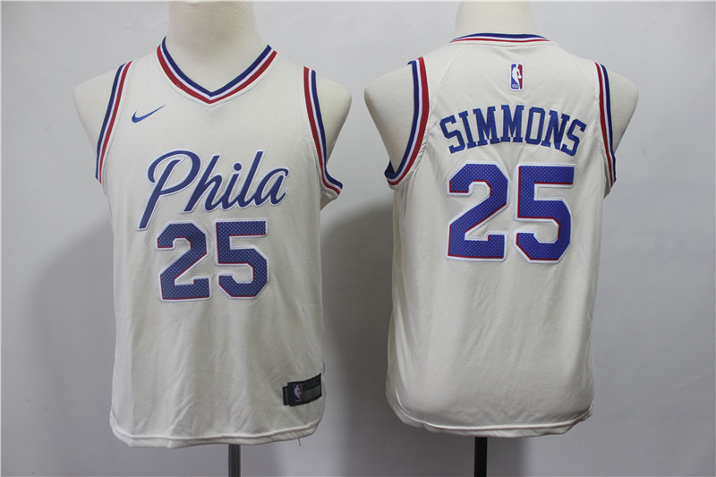 76ers 25 Ben Simmons Cream Youth City Edition Nike Swingman Jersey