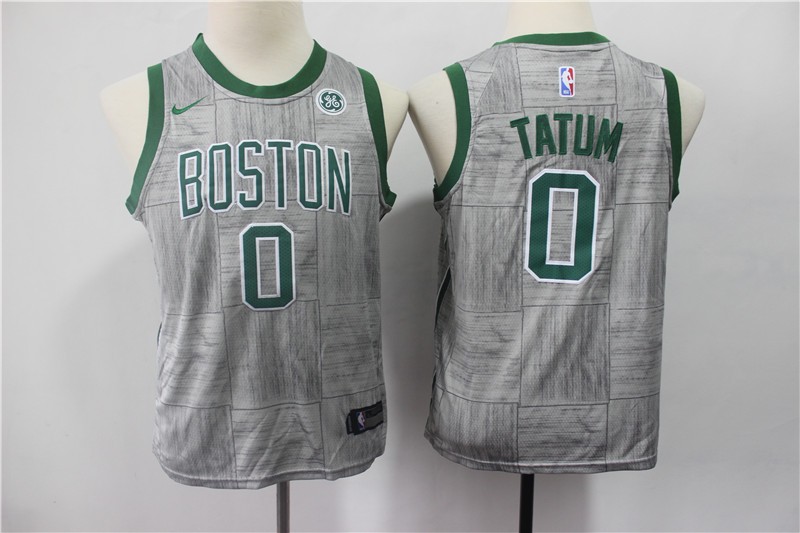 Celtics 0 Jayson Tatum Gray Youth Nike Swingman Jersey