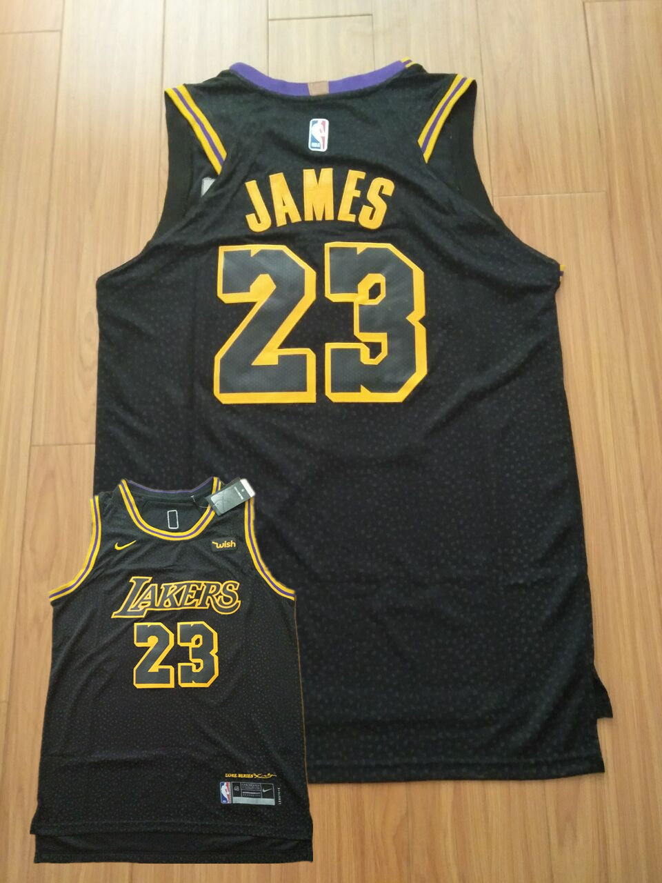 28fdf2451356c New Lakers 23 Lebron James Black City Edition Nike Authentic Jersey ...