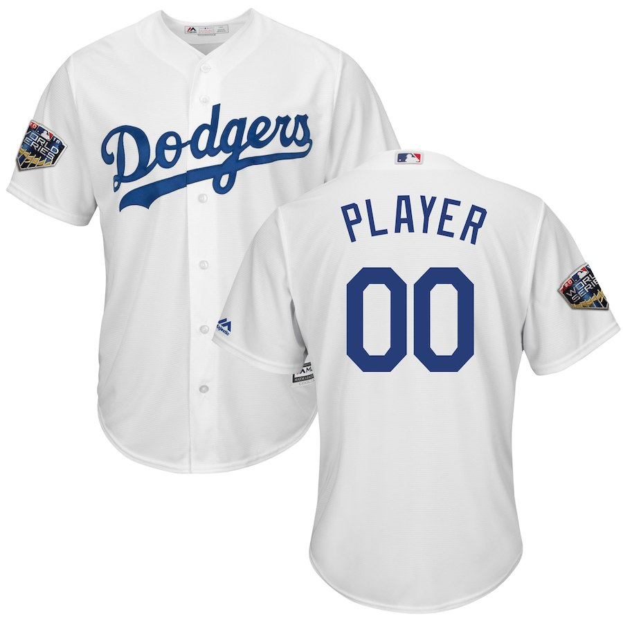 Dodgers White Men's 2018 World Series Cool Base Customized Jersey