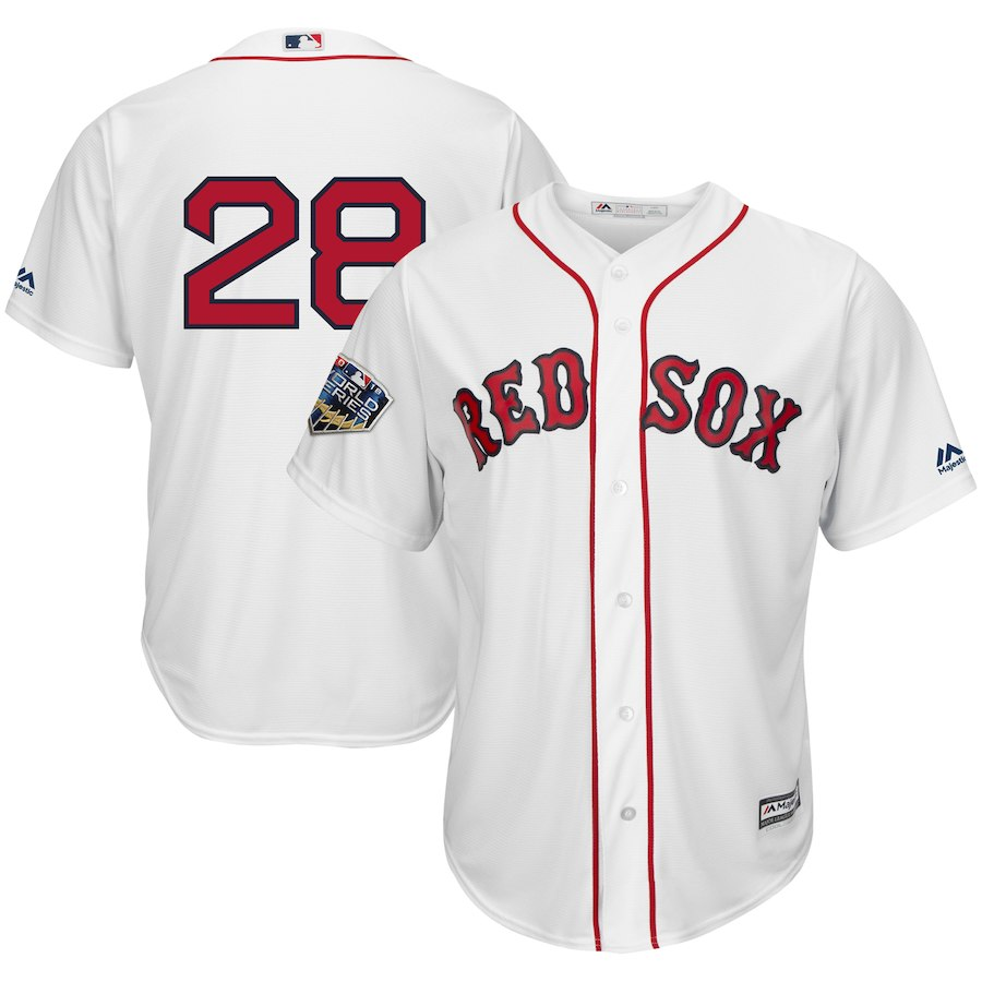 Red Sox 28 J.D. Martinez White 2018 World Series Cool Base Player Number Jersey