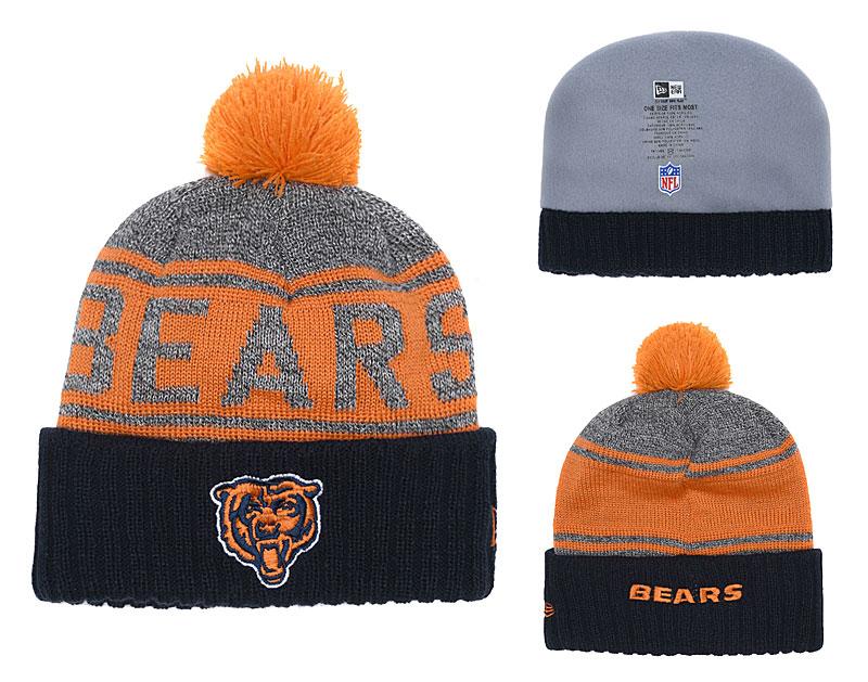Bears Team Logo Navy Cuffed Knit Hat With Pom YD