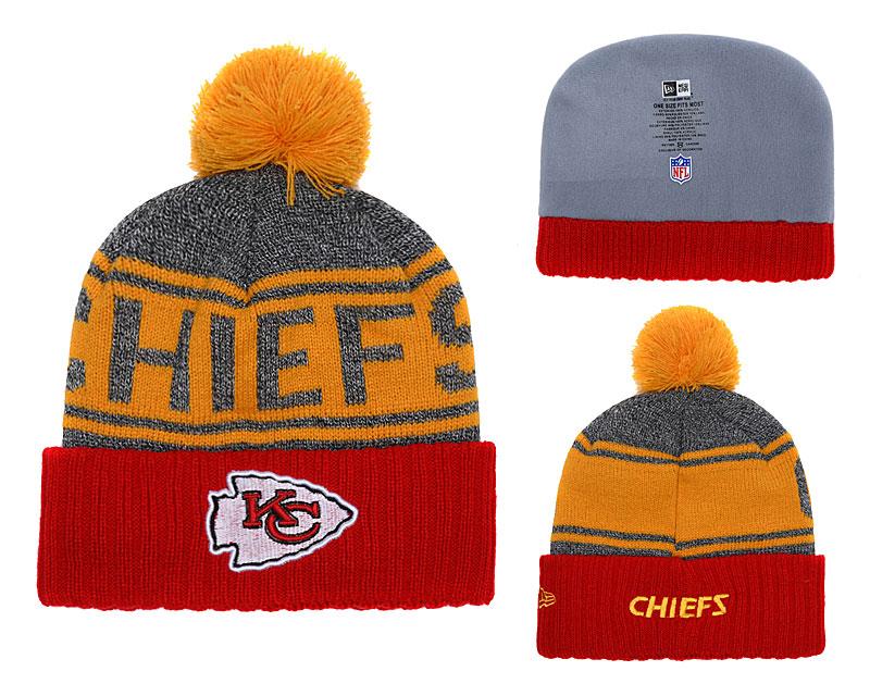 Chiefs Team Logo Red Cuffed Knit Hat With Pom YD