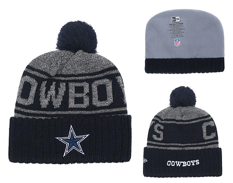 Cowboys Team Logo Navy Cuffed Knit Hat With Pom YD