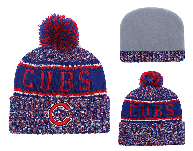 Cubs Team Logo Cuffed Knit Hat With Pom YD