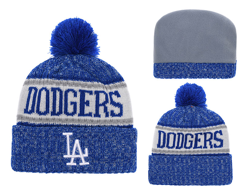 Dodgers Team Logo Royal Cuffed Knit Hat With Pom YD