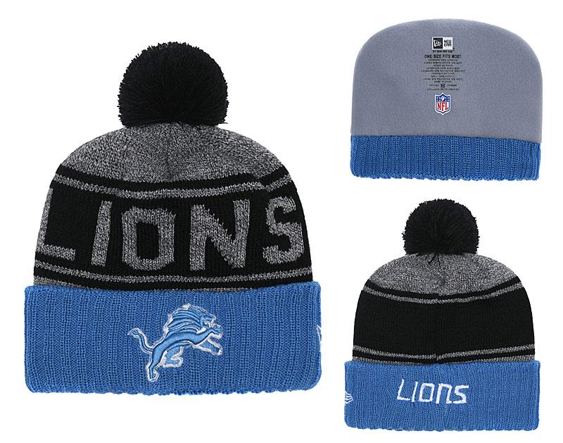 Lions Team Logo Blue Cuffed Knit Hat With Pom YD