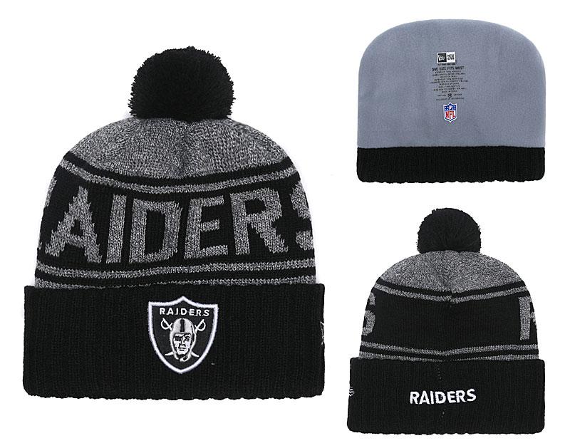 Raiders Team Logo Black Cuffed Knit Hat With Pom YD