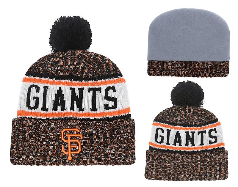 SF Giants Team Logo Cuffed Knit Hat With Pom YD