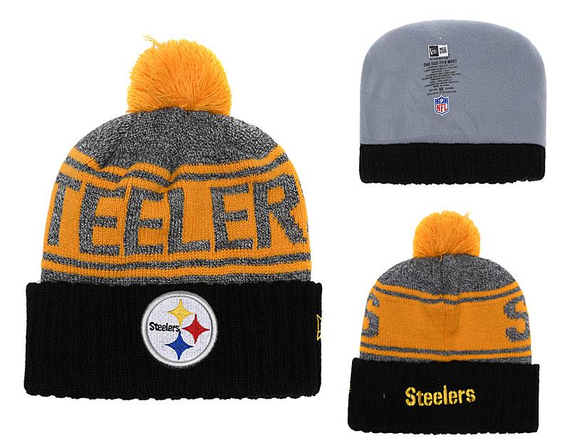 Steelers Team Logo Black Cuffed Knit Hat With Pom YD