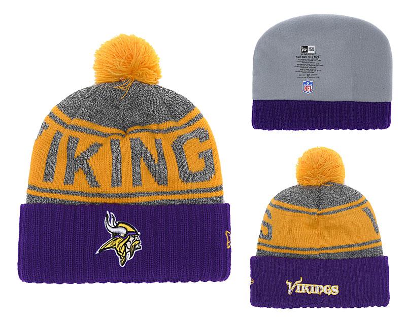 Vikings Team Logo Purple Cuffed Knit Hat With Pom YD