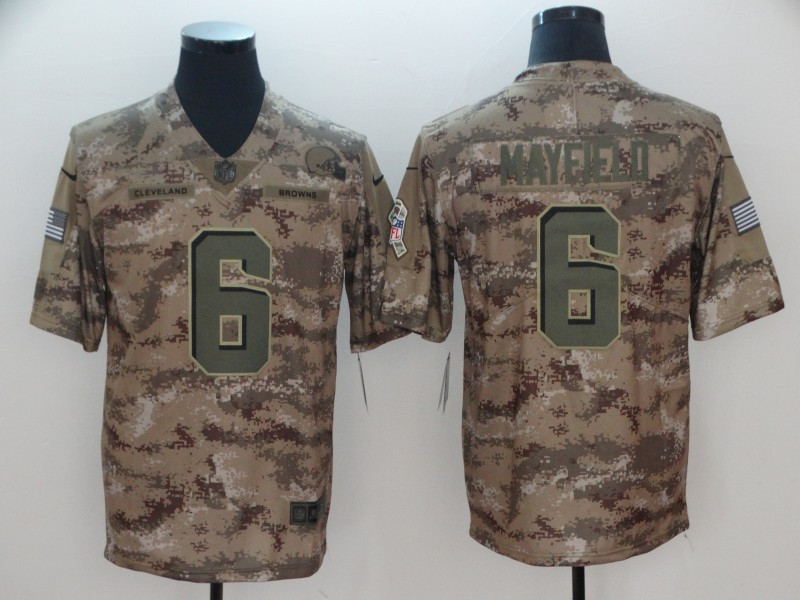 Nike Browns 6 Baker Mayfield Camo Salute To Service Limited Jersey