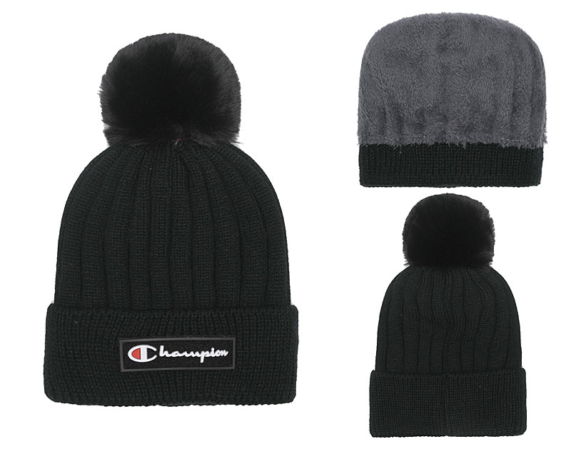 Champion Fresh Logo Black Fashion Knit Hat SG