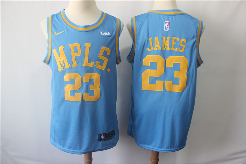 Lakers 23 Lebron James Light Blue Nike Swingman Jersey